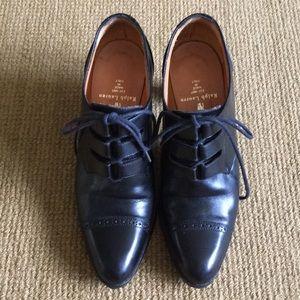 Ralph Lauren black leather high heeled booties